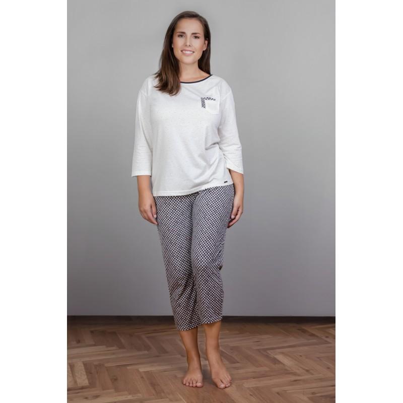 Dámské pyžamo Cornette 602 - barva:COR137/ecru/sivá, velikost:M