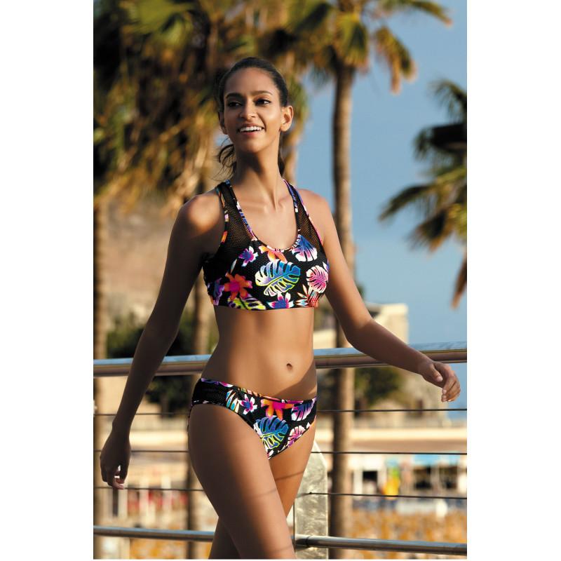 Športové plavky Feba F81 - barva:FEBA471/cierna/kvety, velikost:XL