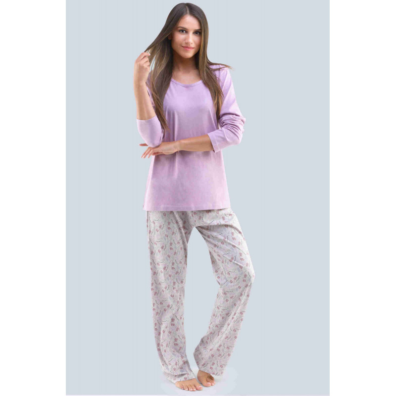 Dámske pyžamo Gina 19109P - barva:GINLCFLxG/šedofialová/zv. šedá, velikost:XL