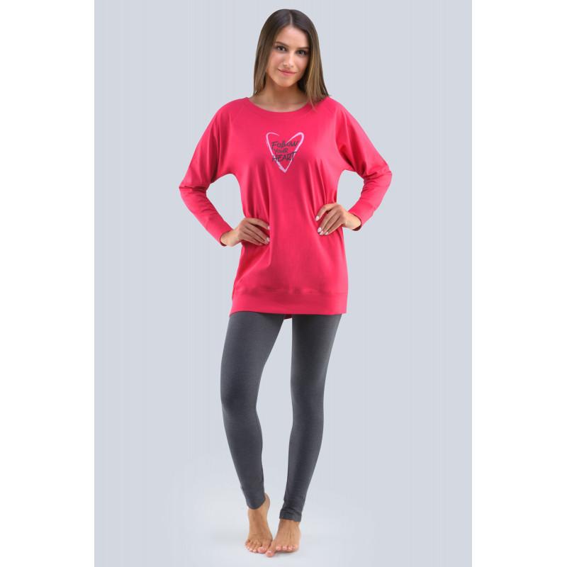 Dámske pyžamo Gina 19113P - barva:GINMMEDxG/bordo/tm. šedá, velikost:L