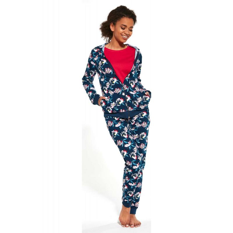 Pyžamový set Cornette 355 - barva:COR243/Modrá s kvetinami, velikost:L