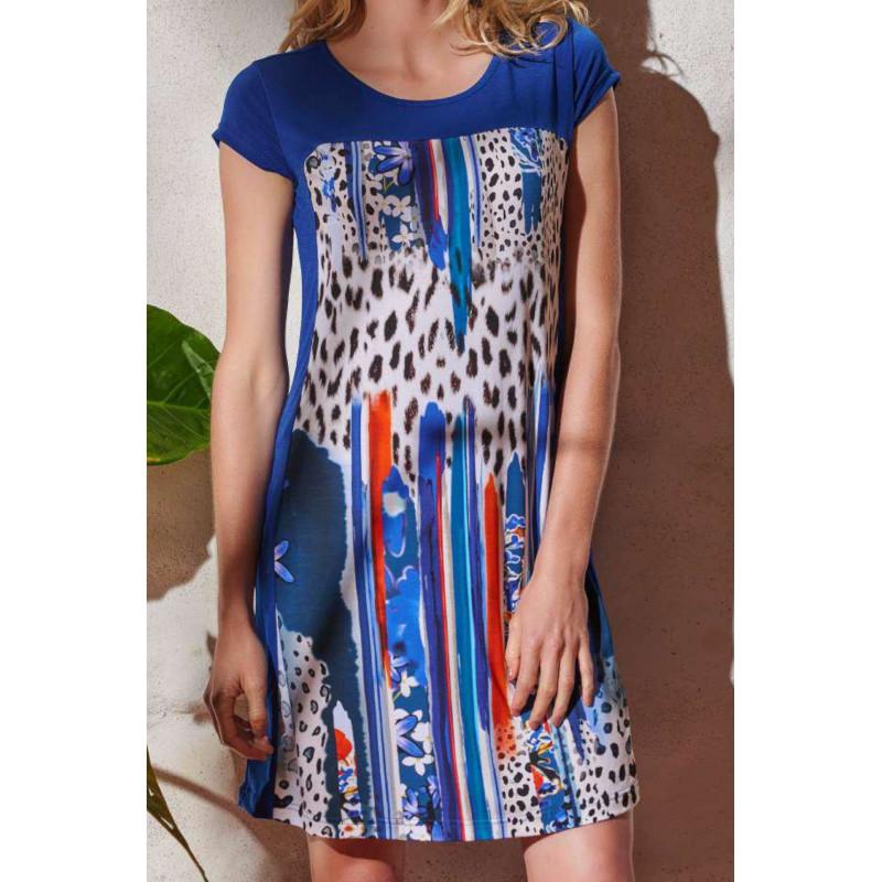Šaty Lady Belty 20V-1022V-79 - barva:BEL79UNI/modrá potláč, velikost:L