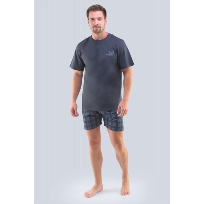 Pánske pyžamo Gina 79098P - barva:GINDxGMxG/tm. sivá/sivá, velikost:XXL