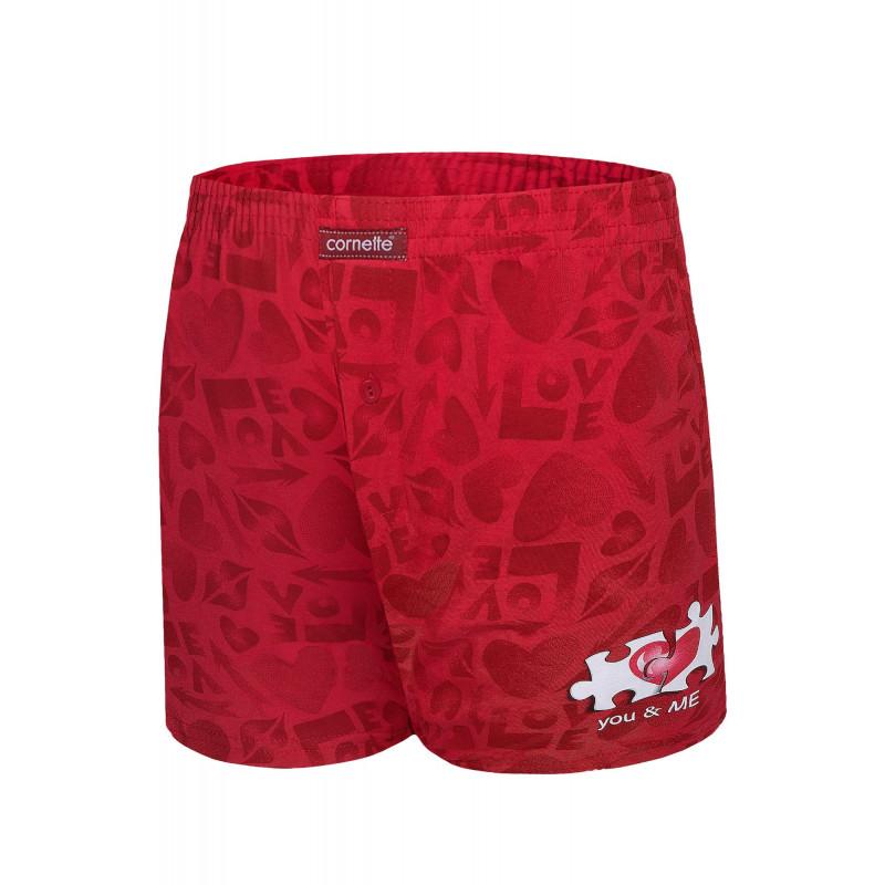 Pánske trenírky Cornette 015 - barva:COR9/červená s potlačou, velikost:L