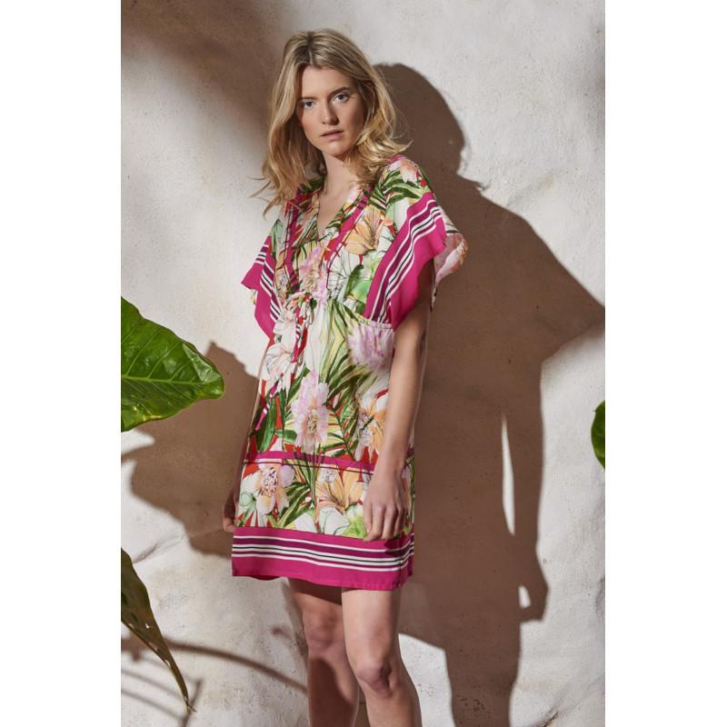 Šaty Lady Belty 20V-1001R-65 - barva:BEL65UNI/ružovo-zelený potlač, velikost:L